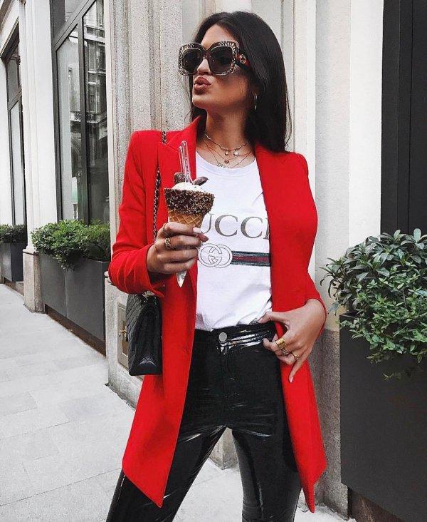 red, clothing, blazer, coat, eyewear,