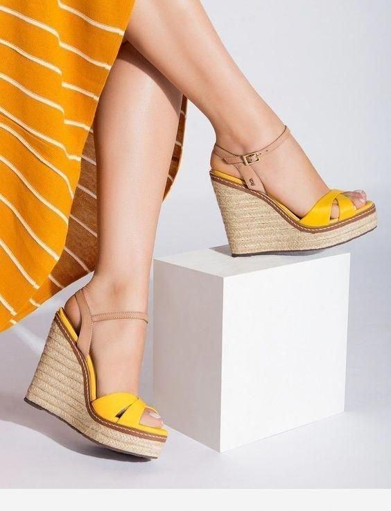 Footwear, Shoe, Yellow, Human leg, Leg,