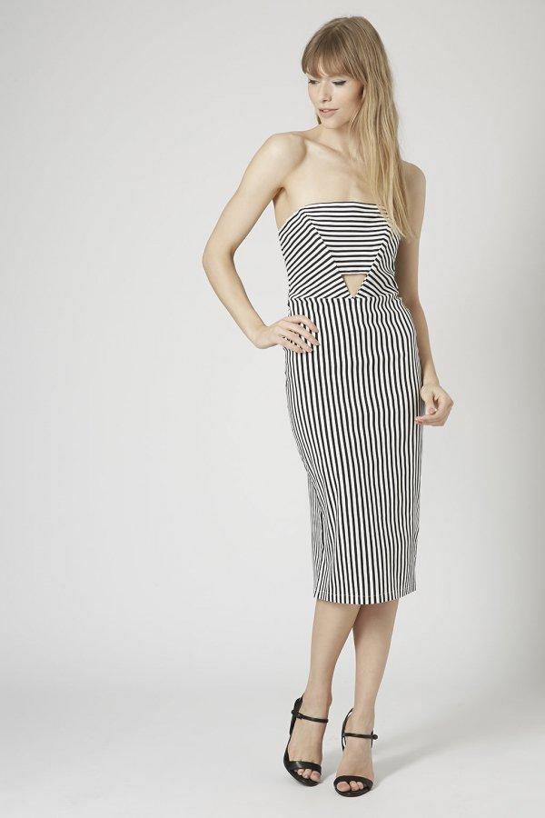 Topshop Striped Panel Cut-out Midi Dress
