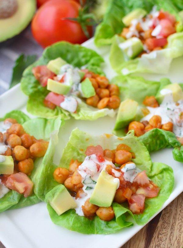 Buffalo Chickpea Lettuce Wraps