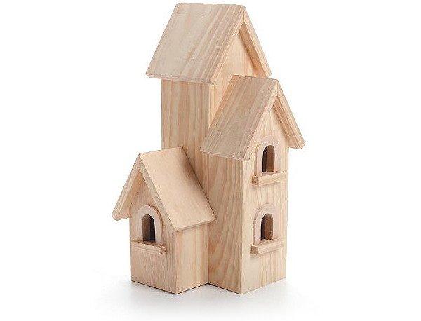 Natural Wood Birdhouse Manhatton, 12-Inch
