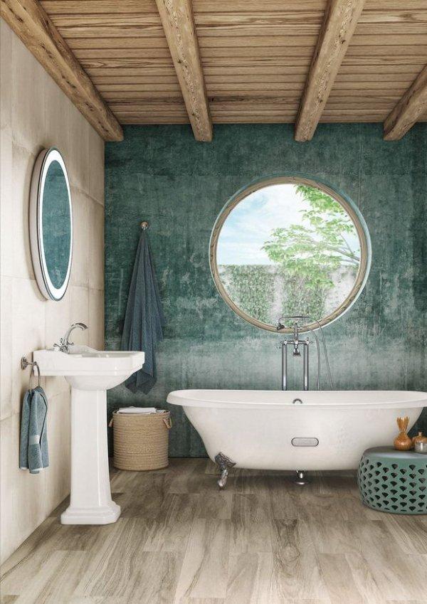 Bathroom, Room, Green, Interior design, Property,