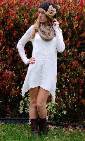 Vanilla Baby Sweater Dress: Cream