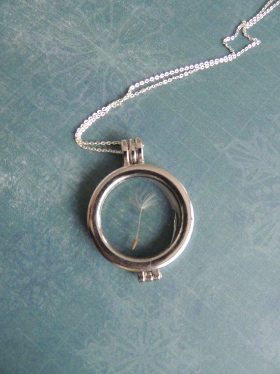 Dandelion Glass Locket Necklace
