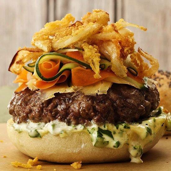 Smoky Cedar Planked Burger with Jalapeño-Cilantro Mayo