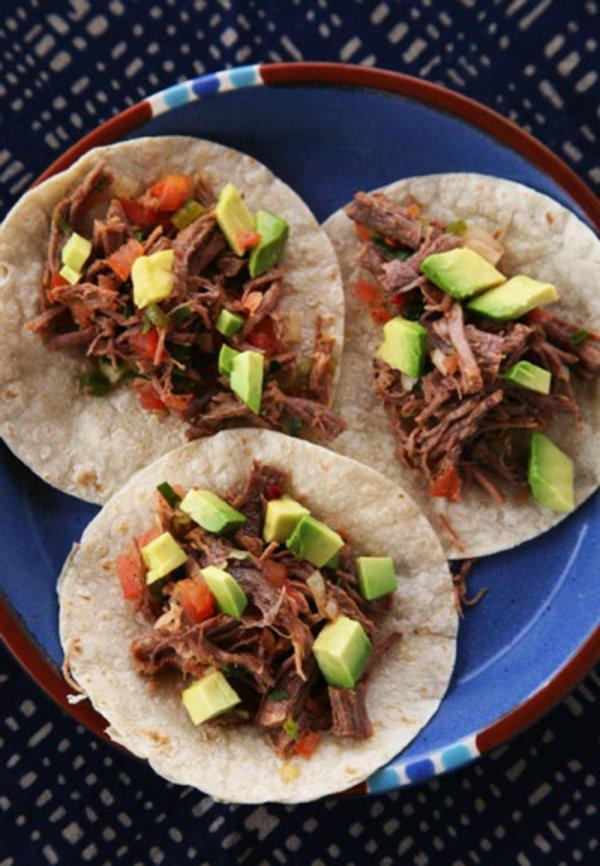 food, dish, cuisine, tostada, carnitas,