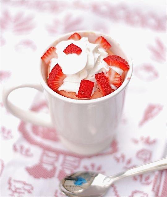 Strawberries and Cream Mug Cake