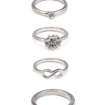 FOREVER 21 Rhinestone Midi Ring Set Silver/Clear