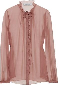 Valentino Ruffled Silk-Chiffon Blouse