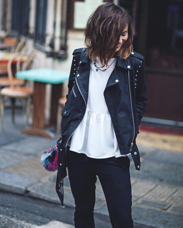 clothing, jacket, leather jacket, coat, jeans,