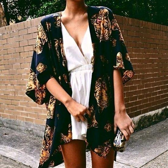 Black and Gold Rose Kimono