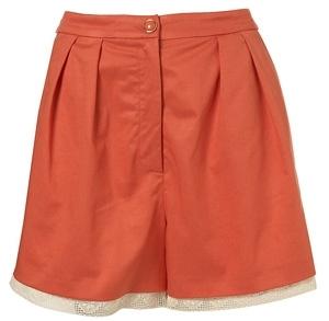 Topshop Coral Lace Trim Shorts