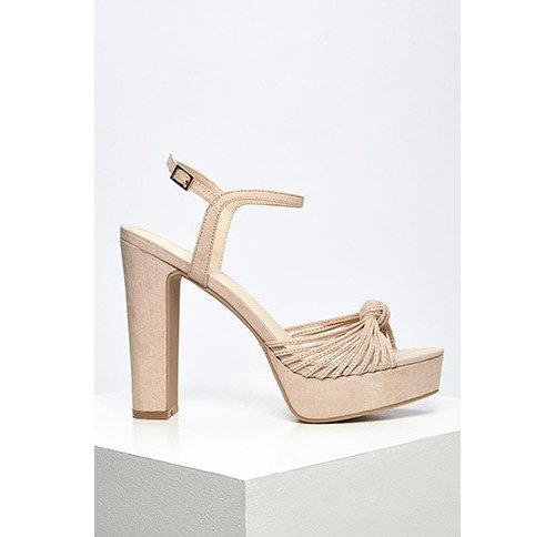 Nude Strappy Faux Suede Platform Sandals