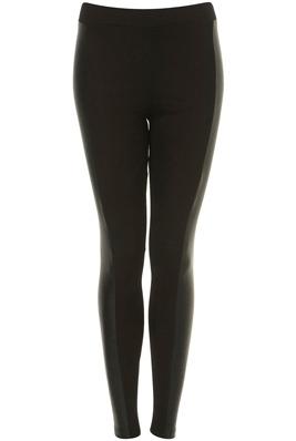 Topshop Faux Leather Panel Black Leggings