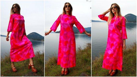 Hawaiian Bright Pink Bell Sleeve Floral Maxi Dress