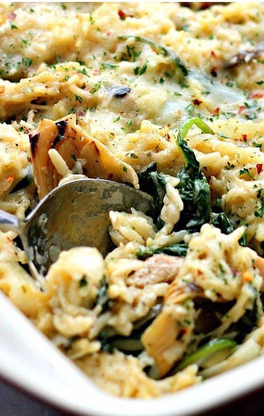 Spinach and Artichoke Pasta Alfredo Casserole