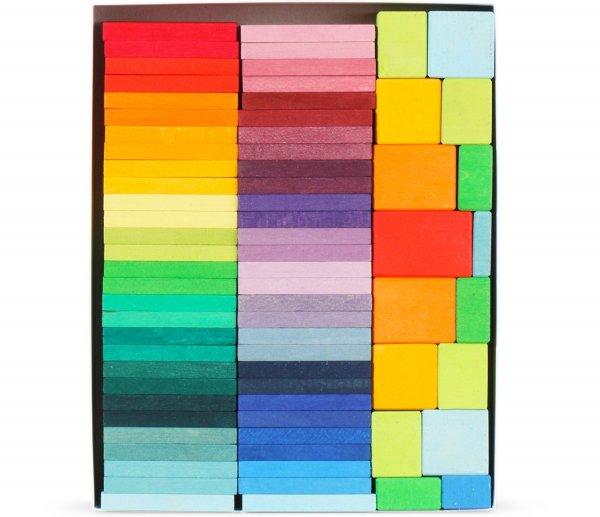 Grimm's Color Charts Rally Building Blocks Set, 72 Pcs