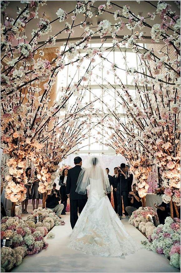 Cherry Blossom Arch Garden Wedding