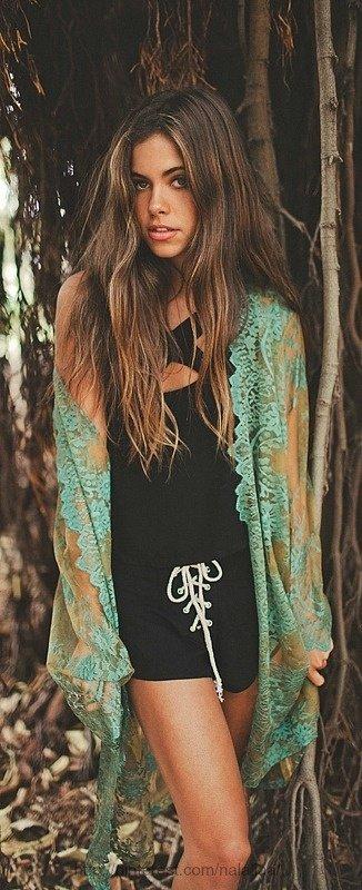 Sheer Teal Kimono