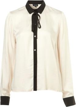 Topshop Cream Contrast Long Sleeve Shirt