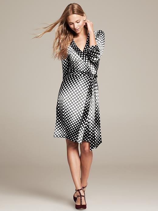 Banana Republic Gemma Diamond Print Wrap Dress