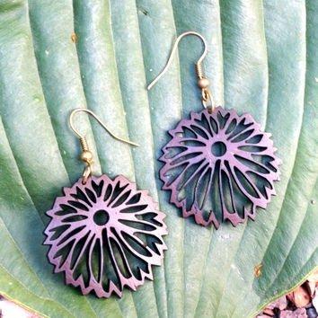Coconut Carved Bloom Earrings