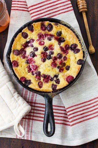 Skillet Custard Cornbread with Berries and Honey