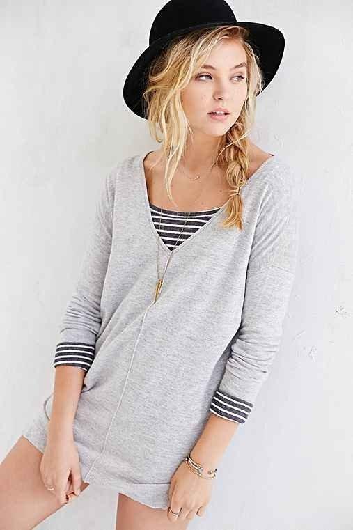 Sparkle & Fade Deep-V Side-Slit Sweater Dress