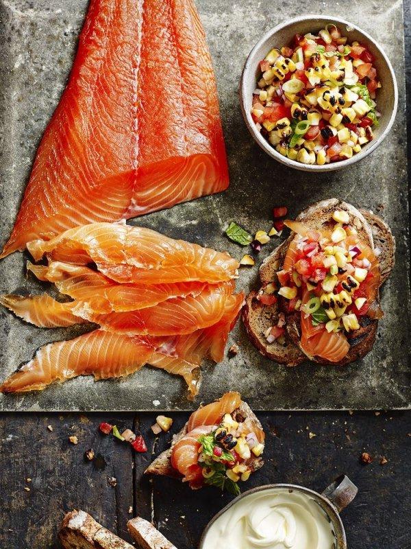smoked salmon, dish, food, salmon, vegetable,