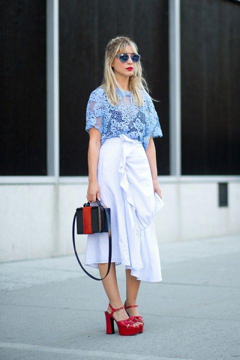 Wear a Long Ruffle Skirt with a Sheer Top