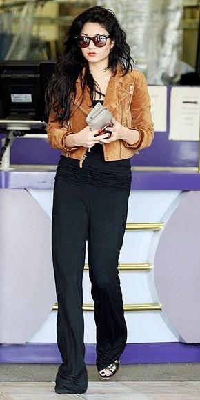 Brown Jacket, Simple Top and Black Pants