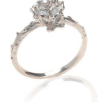 Blue Topaz Rose Ring