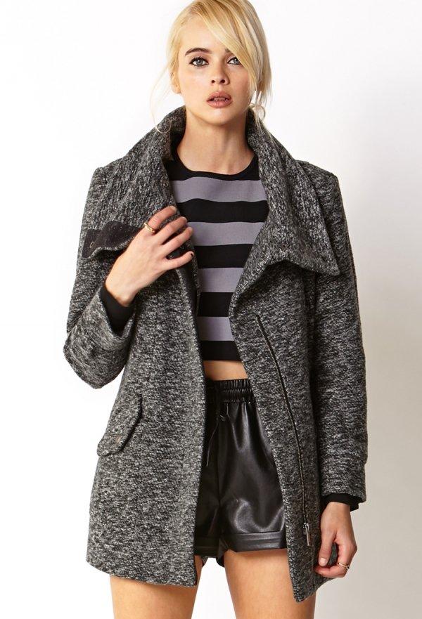 Marled Oversized Collar Coat