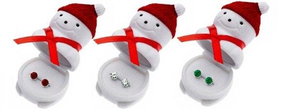Swarvoski Stud Earrings in a Snowman Box