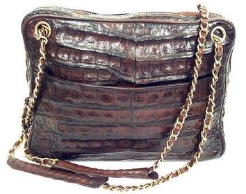 Vintage Chanel Brown Alligator Camera Bag