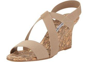 Manolo Blahnik Terwe Elastic Cork Wedge Sandals