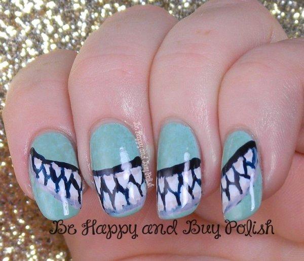 Shark Jaws - 28 Really Cool Sea Creature Nail Art Patterns ... …