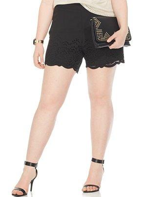 Modamix plus Size Perforated Scalloped Shorts