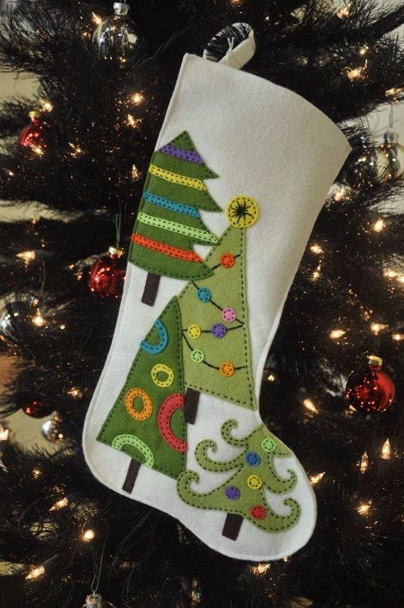 Embroidered Felt Christmas Stocking