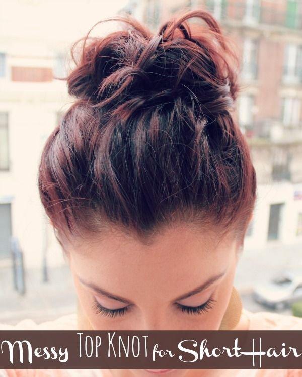 Messy Top Bun for Short Hair