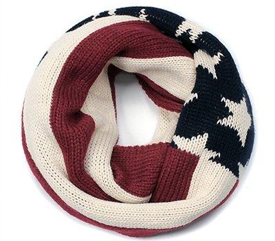 American Flag Print Knit Infinity Scarf