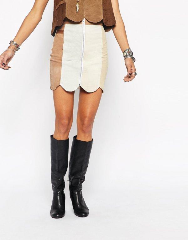 Milk It Suede Mini Skirt with Zip Front & Scallop Edge