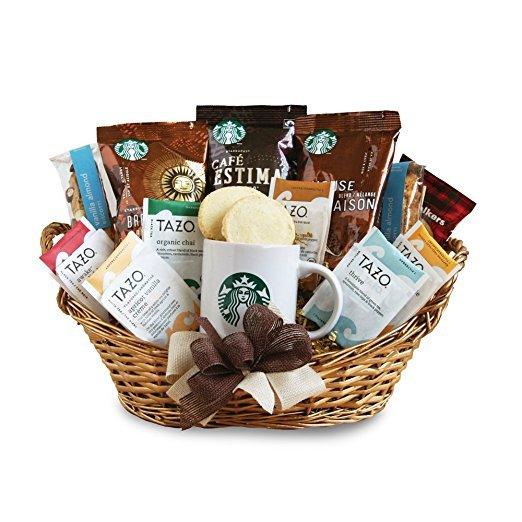 Starbucks, gift basket, basket, hamper, food,