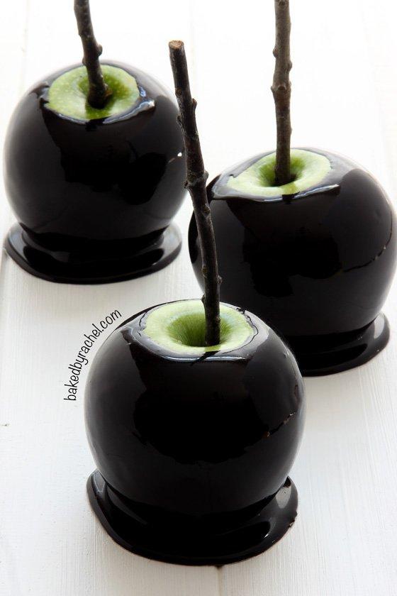 Spooky Black Caramel Apples