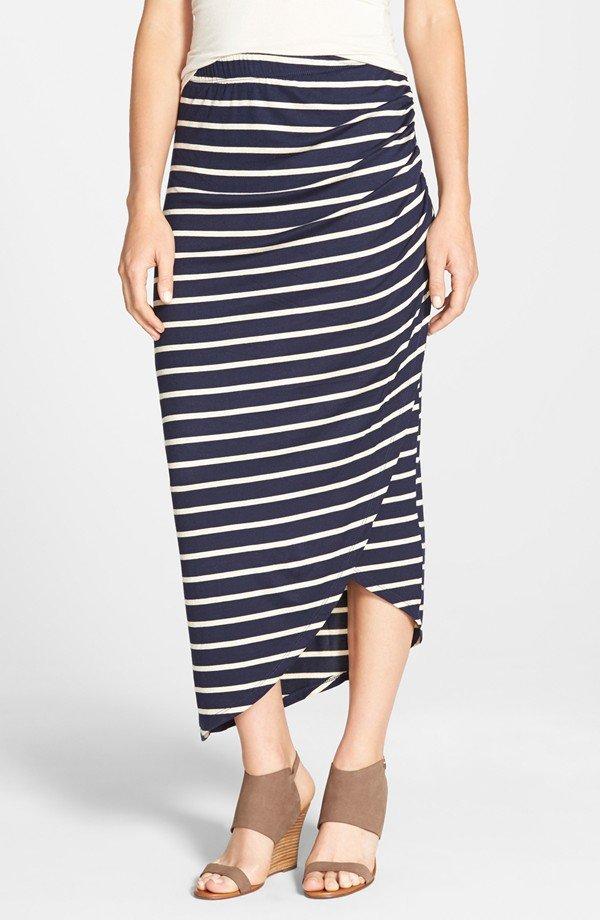 Asymmetrical Faux Wrap Midi Skirt