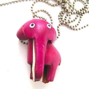 Faux Leather Elephant Charm Necklace