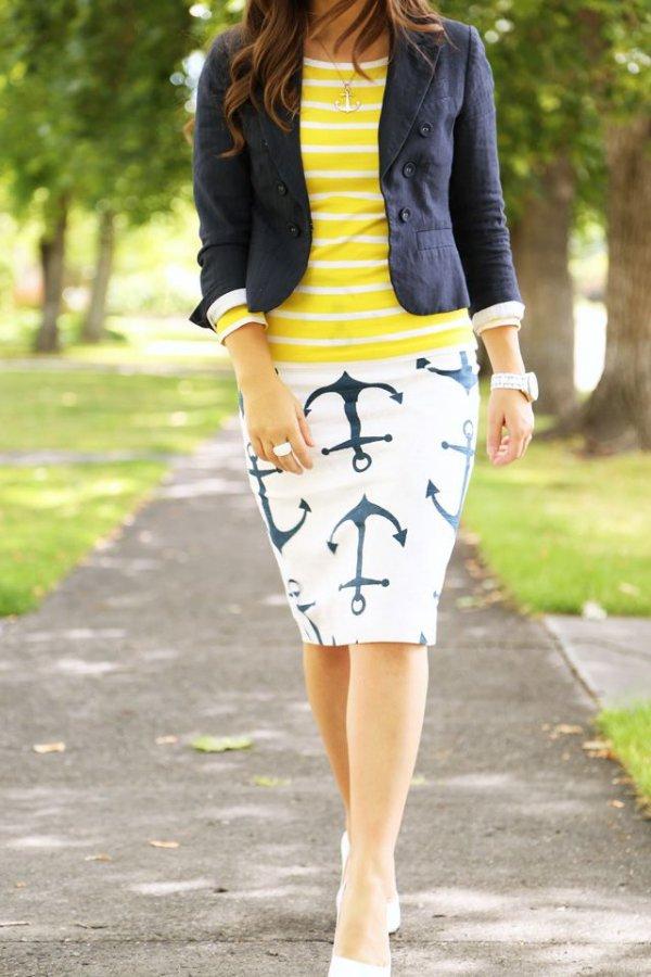 Anchor Print Skirt