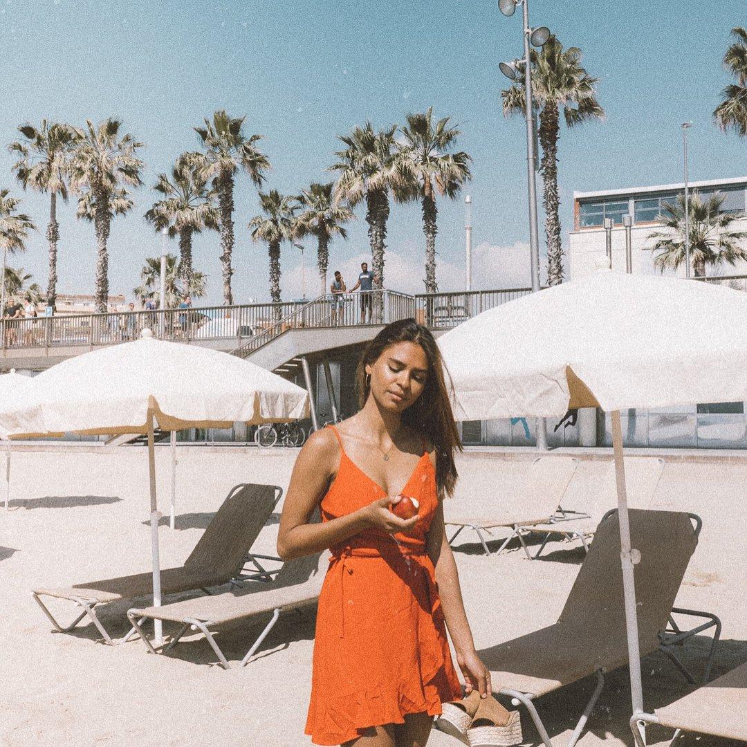 Mena Suvari in a Bikini on the Beach