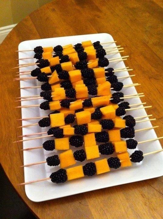 Black and Orange Fruit Skewers
